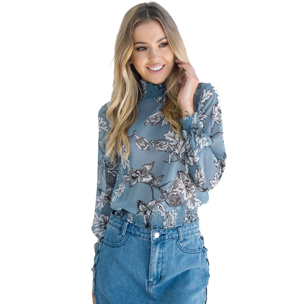 Floral Printed Women Chiffon Blouse Top Casual Long Sleeve Turtleneck Street Style Blue Shirt Women Clothing Blusas