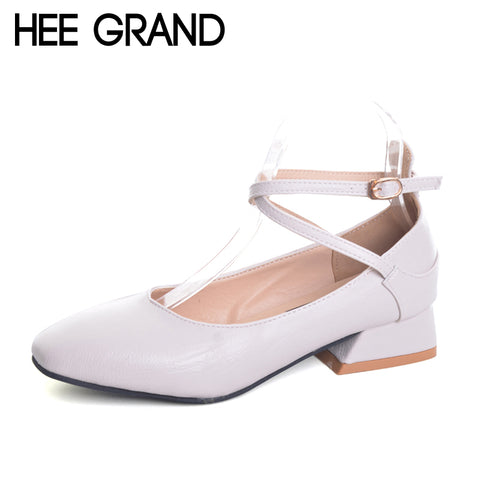 HEE GRAND Summer Pumps Shoes Flock Round Toe Mary Janes High Heels Casual Autumn Elegant Lady Buckle Strap Shoes Woman XWZ4471