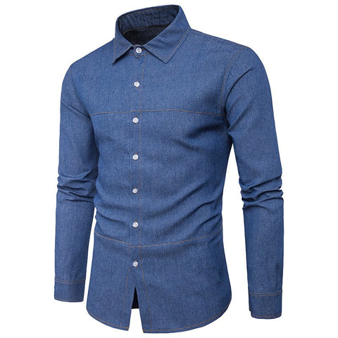 2017 Autumn Mens Casual Denim Shirts Buttons Down Lapel Blue Color Brand Clothing Men Long Sleeve Slim Fit Male Jeans Clothes