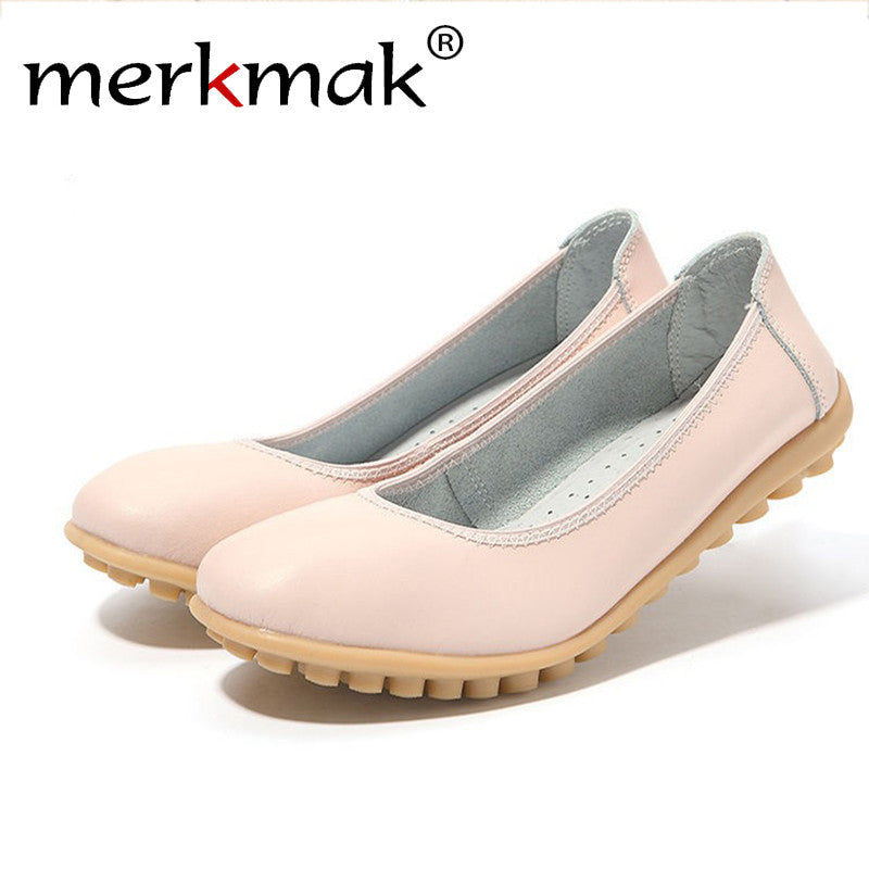 Merkmak Luxury Shoes Women Fashion Genuine Leather Loafer Footwear Slip On Candy Color Flats Female Moccasin Sapatos Drop Ship