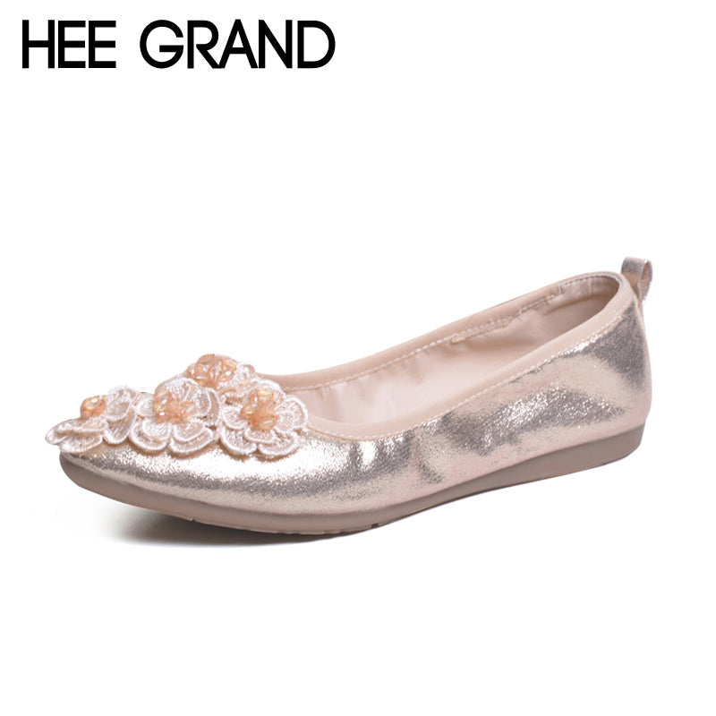 HEE GRAND Flowers Creepers Pearl Glitter Ballet Flats Shoes Woman Loafers Comfort Slip On Casual Women Shoes Size 35-41 XWD5863