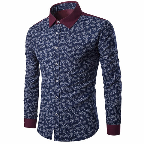 2017 Autumn Spring Men Casual Shirts Fashion Long Sleeve Brand Printed Button-Up Slim Formal Business Floral Men Dress Shirt 3XL