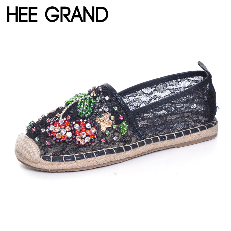HEE GRAND Rhinestones Loafers 2017 Glitters Mesh Fisherman Shoes Woman Straw Slip On Casual Flats Platform Women Shoes XWD6006