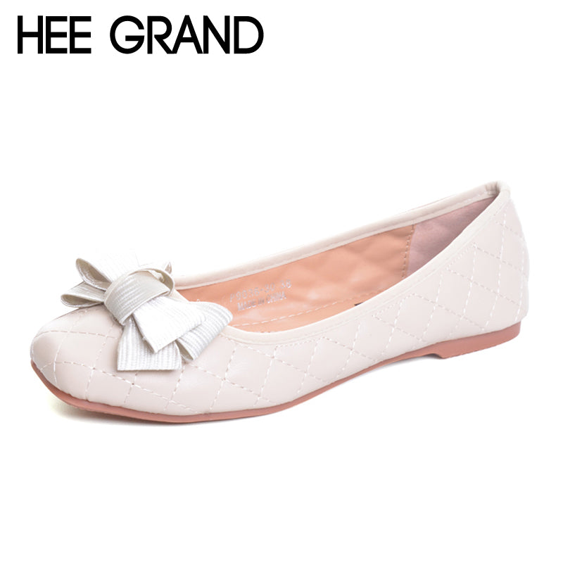 HEE GRAND Flowers Creepers Bowtie Flats Shoes Woman Square Toe Loafers Comfort Slip On Casual Women Shoes Size 35-41 XWD6022