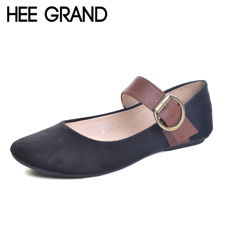 HEE GRAND Buckle Loafers Solid Round Toe Ballet Flats 2017 Casual Slip On Shoes Woman Comfort Autumn Women Flat Shoes XWD5974
