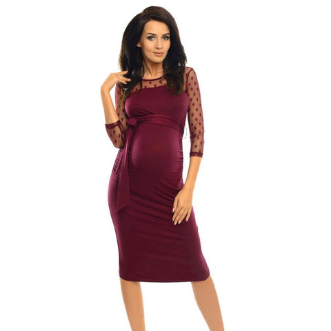 Women Autumn Dress Three Quarter Women Maternity Ruched Bodycon Pregnancy Dress With Polka Dot Lace Knee-Length vestido