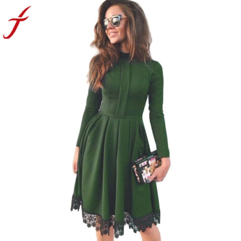 High Collar Women Autumn Dress Fashion Black Lace Green Dresses Long Sleeve Vintage Women Party Dresses Elegant 2016