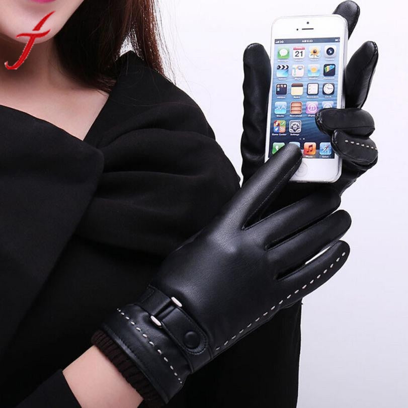 1Pair Womens   Screen Winter Warm Black Beautiful PU Leather Mitten Luvas Women Gloves Female