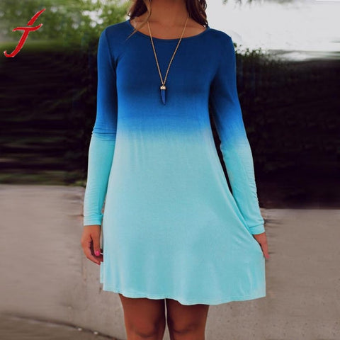 Summer Autumn Sexy Womens Long Sleeve Casual Loose Gradient Color Short Mini Dress Women #1