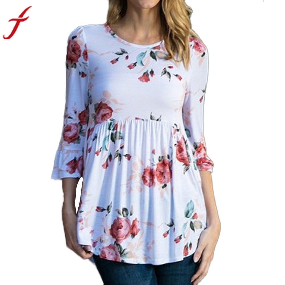 Womens Sexy Ruffled Blouse Flare Sleeve Floral Printing Tops Three Quarter Elegant Blouse Summer Women Shirts