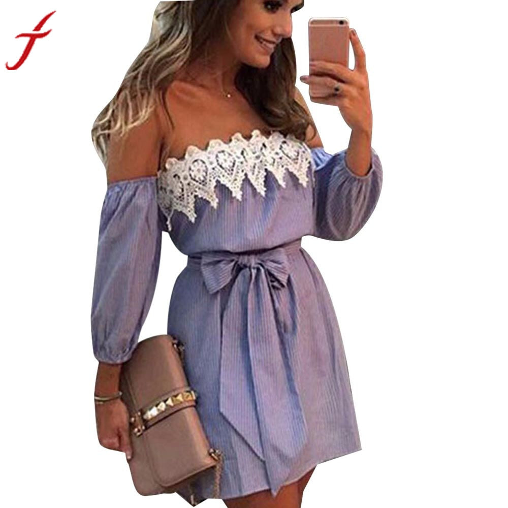 Blue Striped Summer Dress Women Cold Shoulder Lace Dress Casual Three Quarter Sleeve Party Short Mini Dress