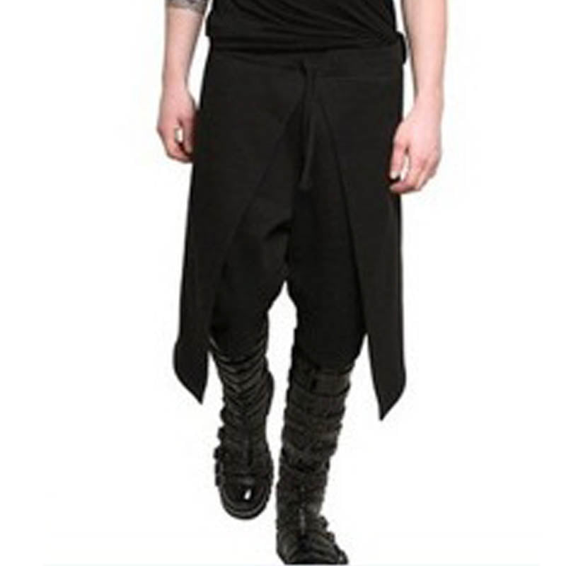 2017 Fashion Men Elastic Waist Drawstring Harlan Pants Baggy Patchwork Solid Loose Casual Punk Style Black Long Trousers