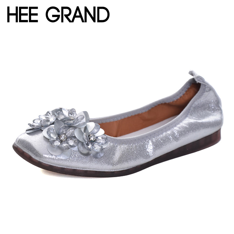 HEE GRAND 2018 Bling Bling Loafers Spring Fashion Ballet Flats Causual Fisherman Shoes Woman Slip On Comfort Women Shoes XWD6082