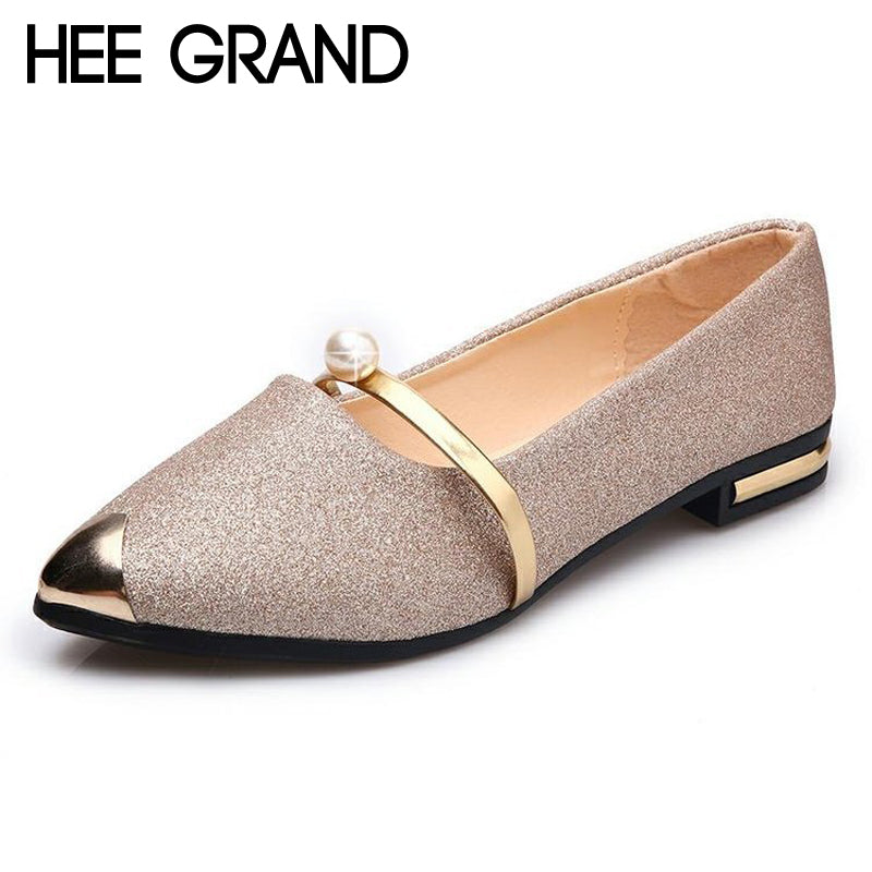 HEE GRAND Gold Silver Color Summer Style Loafers Pu Leather Flats Shoes Woman Slip On Bling Soft Women Shoes Size 35-40 XWD6278