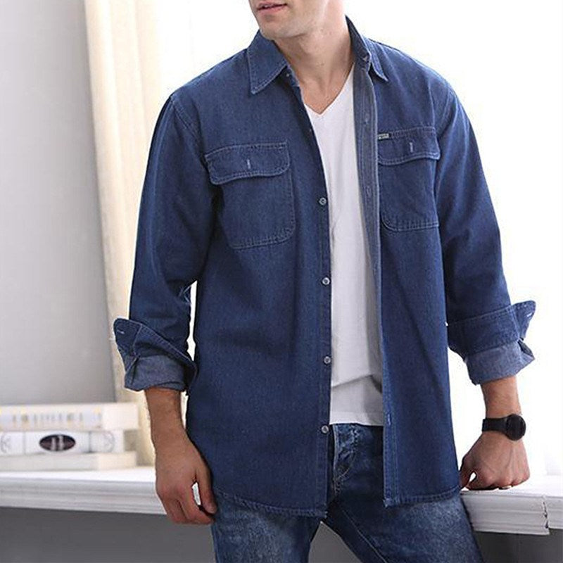 Men Denim Shirts Clothes Long Sleeve Shirt Autumn Spring Leisure Lapel Solid Slim Fit Dress Shirts Plus Size Jeans Tops 3XL 2018