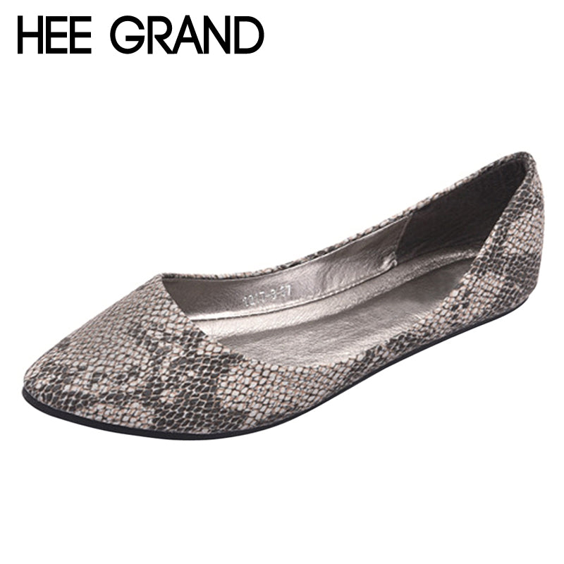 HEE GRAND Spring Ballet Flats 2018 Platform Loafers Slip On Serpentine Leather Shoes Comfort Women Flat Shoes Size 35-41 XWD6267