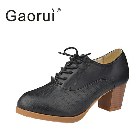 2016 women's New Fashion Vintage Lacing Pointed Toe Thick Heel Women Pumps Female British Style High Heels Oxfords Shoes