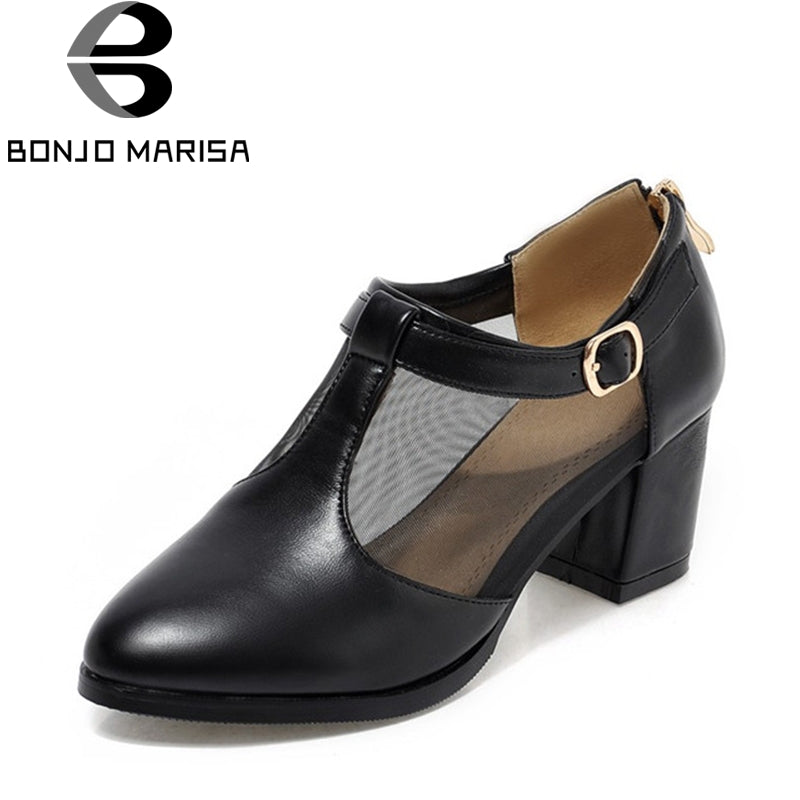 BONJOMARISA 2018 Spring Autumn Fashion Large Size 34-43 Mesh T-Strap Pumps Woman Round Toe Cool High Square Heel Women Shoes