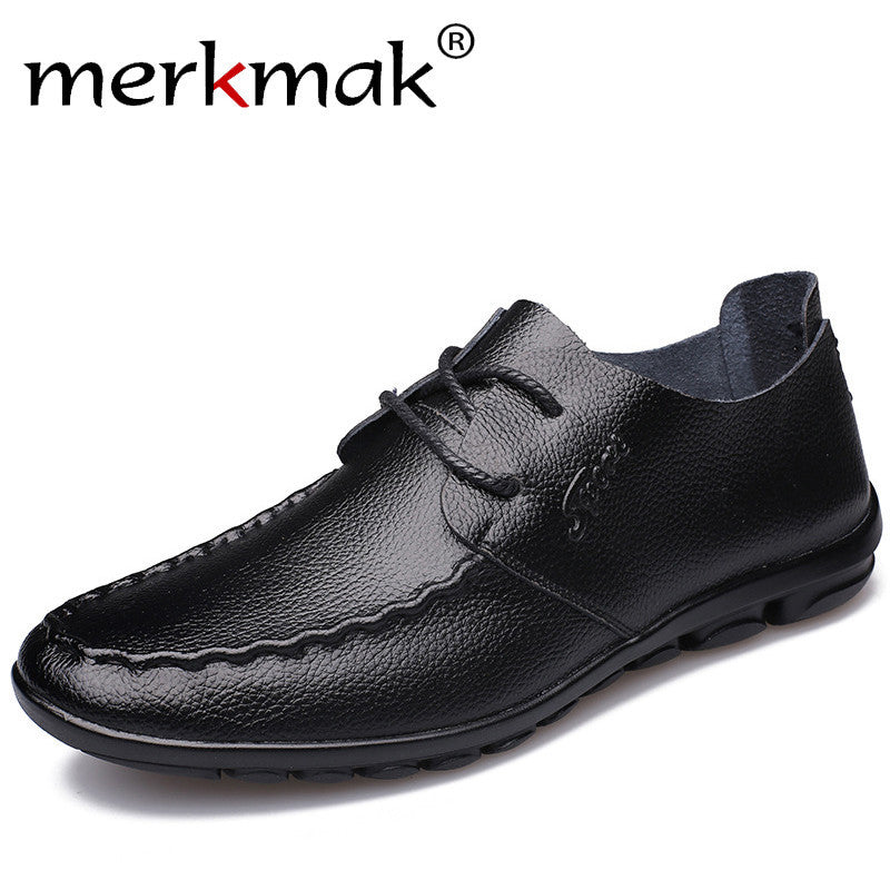 Merkmak Genuine Leather Mens Casual Shoes 2018 New Fashion Handmade Moccasins Leather Men Flats Lace Up Men's Leisure Shoes