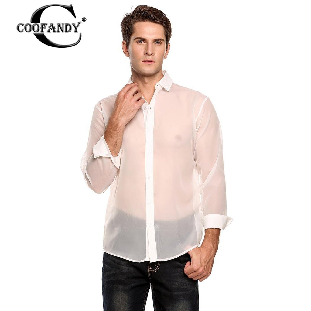 COOFANDY 2017 Stylish Male Wear Men's Fashion Long Sleeve See-through Net Button Down Shirt