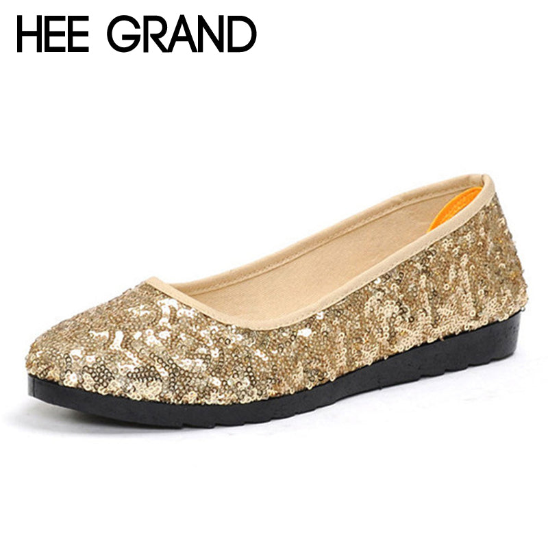 HEE GRAND Dancing Loafers Casual Platform Shoes Woman Bling Bling Ballet Flats Slip On Comfort Women Shoes Size 35-40 XWD6318