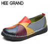 HEE GRAND 2018 New Spring Colorful Flats Women Flower Style Oxfords Genuine Leather with Soft Buttom Sewing Custom Flats XWD6325
