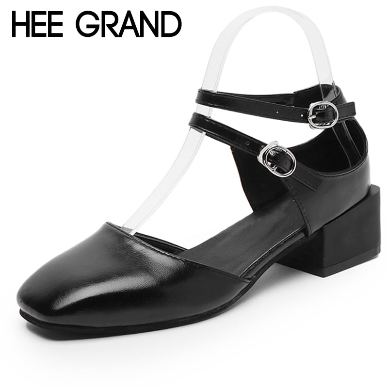 HEE GRAND 2018 Spring Pumps Shoes Double Ankle Strap Round Toe Mary Janes High Heels Fashion Party Shoes Woman XWD6335
