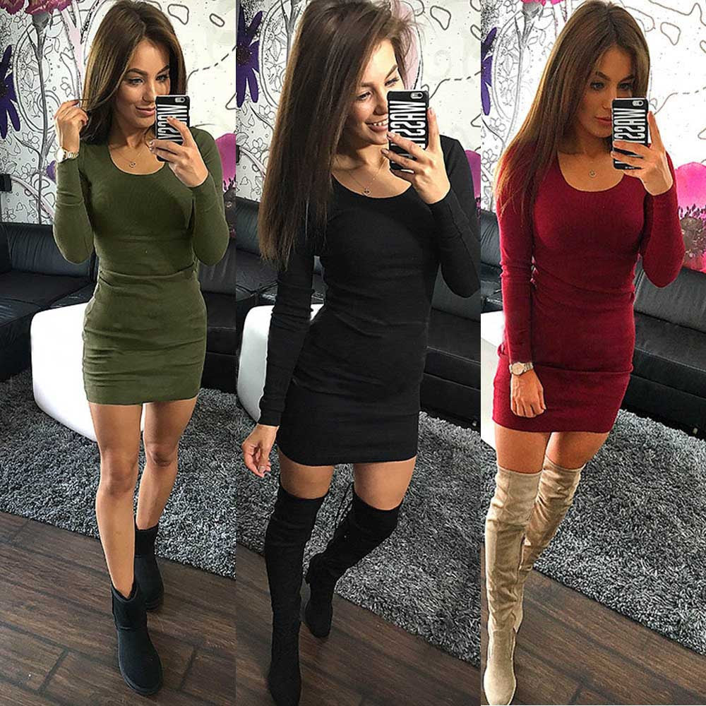 Women Fashion Sexy Solid Long Sleeve Slim Dress