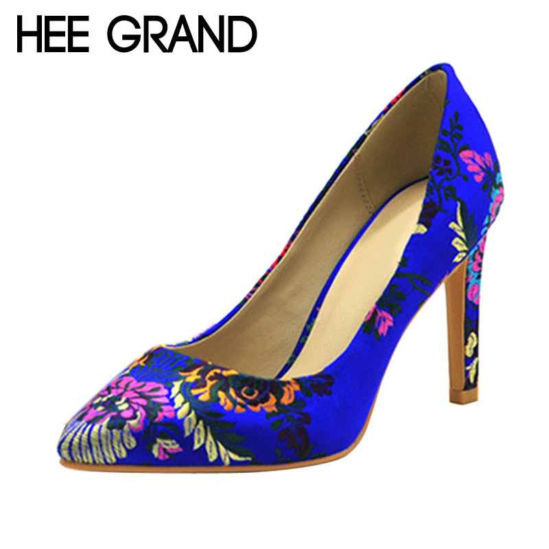 HEE GRAND Flower Sexy Pointed Toe Pumps Slip On Spike Heels Party Wedding High Heels Shoes Woman 3 Colors WXG490