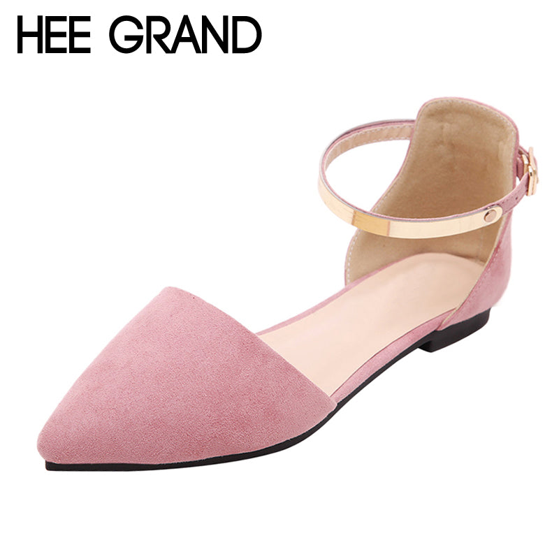 HEE GRAND Flock Pumps Shoes Pointed Toe Ankle Strap High Heels Casual Autumn Elegant Shoes Woman 3 Colors Size 35-42 XWT1024
