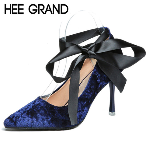 HEE GRAND Riband Elegant Spike High Heels 2018 Spring New Pumps Pointed Toe Faux Suede Sexy Wedding Shoes Woman WXG510