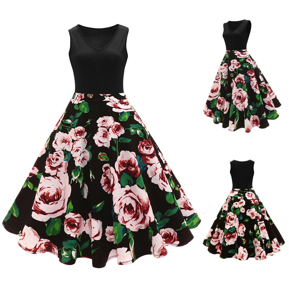 Women Sleeveless Floral Hepburn Vintage Button High-Waist Pleated Dress