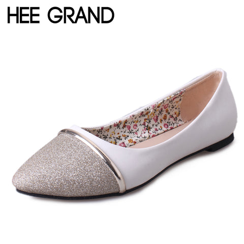 HEE GRAND Women Flats Patchwork Soft Loafers Shoes Woman Summer Pointed Toe Casual Shoes Gold Sliver Colors Size 35-39 XWD6343
