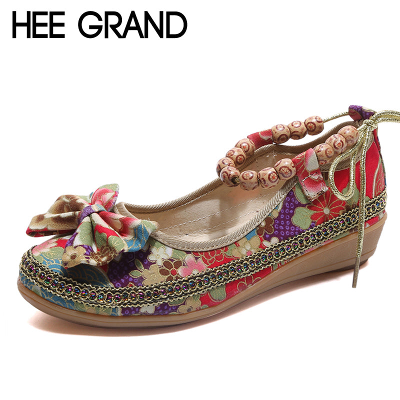 HEE GRAND Canvas Floral Loafers Casual Platform Shoes Woman Slip On Flats Bowtie Comfortable Creepers Women Shoes XWD6384