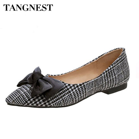 Tangnest Classic Gingham Pointed Toe Flats For Women Shallow Loafers Fashion Butterfly-knot Soft Casual Lady Flat Shoes XWD6349