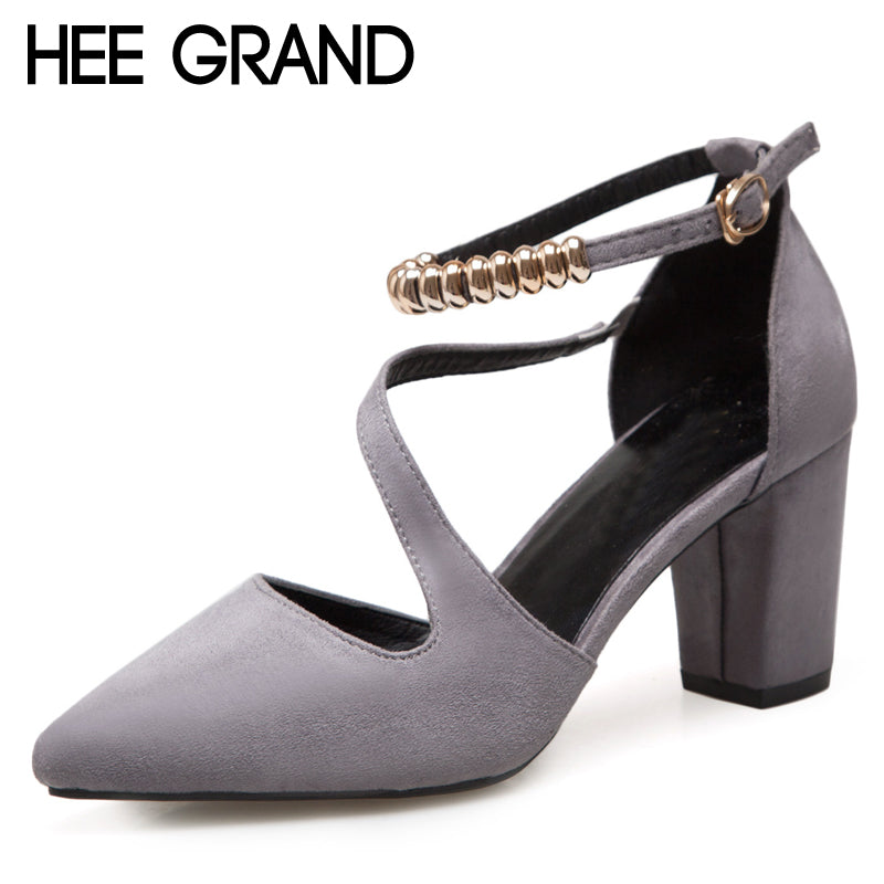 HEE GRAND String Bead Flock Sandals Summer Sexy High Heels Faux Suede Wedding Shoes Woman Elegant Pumps Ladies XWD6403