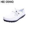 HEE GRAND PU Leather Loafers Spring Slip On Flats Platform Casual Shoes Woman Mother Women Shoes Creepers Size 35-43 XWD4986