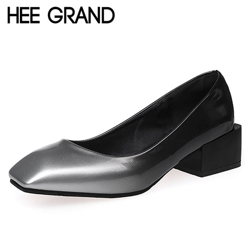 HEE GRAND Grandual Change Colors High Heels Sexy Elegant Pumps Slip On Square Toe Casual Shallow Shoes Woman XWD6383