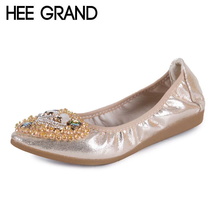 HEE GRAND Gold Silver Crystal Ballet Flats 2018 Casual Loafers Slip On Shoes Woman Shallow Summer Women Flat Shoes XWD6393