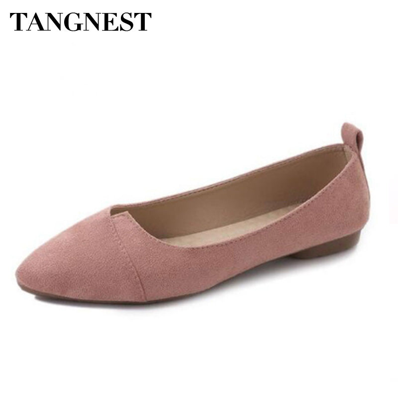 Tangnest New Women's Ballet Flats Shallow Fashion Pointed Toe PU Leather Solid Casual Flats For Women Spring Soft Flat Shoes