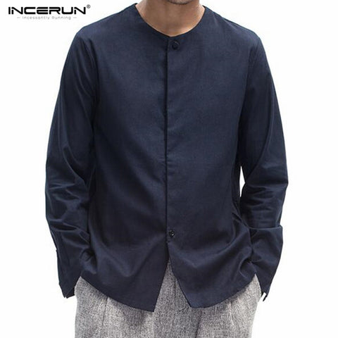 2018 INCERUN Autumn Men Cotton Linen Shirt Traditional Chinese Style Tang Suit Male Long sleeve Shirt Clothing Retro Fancy Shirt