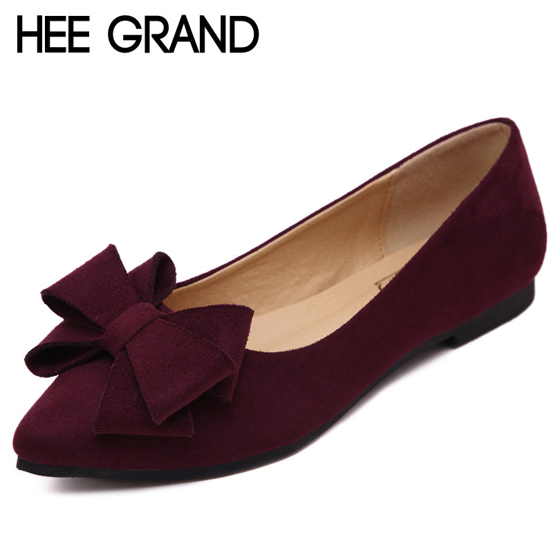 HEE GRAND 2018 Loafers Casual Platform Shoes Woman Bowtie Ballet Flats Slip On Comfort Fashion Women Shoes Size 35-41 XWD6428