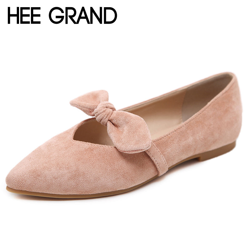 HEE GRAND Spring Loafers 2018 Solid Faux Suede Flats Bowtie Shoes Woman Slip On Comfortable Casual Women Shoes XWZ4636