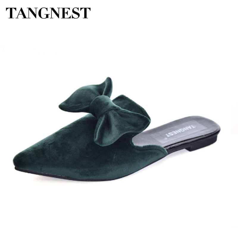 Tangnest Sexy Women Velvet Slingbacks Shoes Flock Leather Pointed Toe Mules Sweet Butterfly-knot Slippers Female Flats XWZ4514