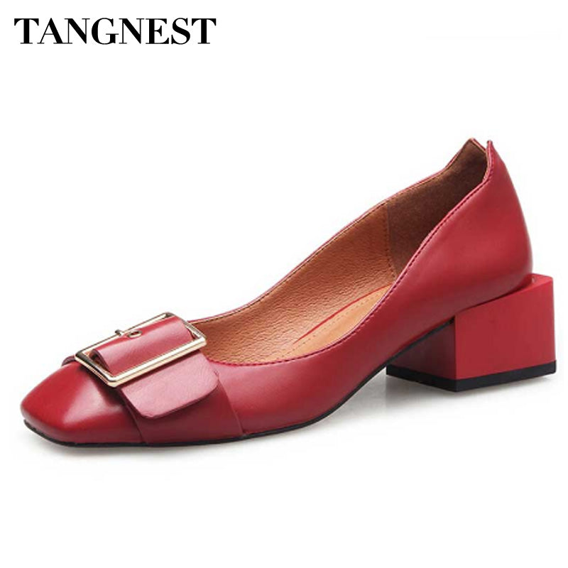 Tangnest New Genuine Leather Luxury Women Pumps Buckle Strap Dress Shoes Strange Style Heels Shoes For Woman Lady Pumps XWD4954