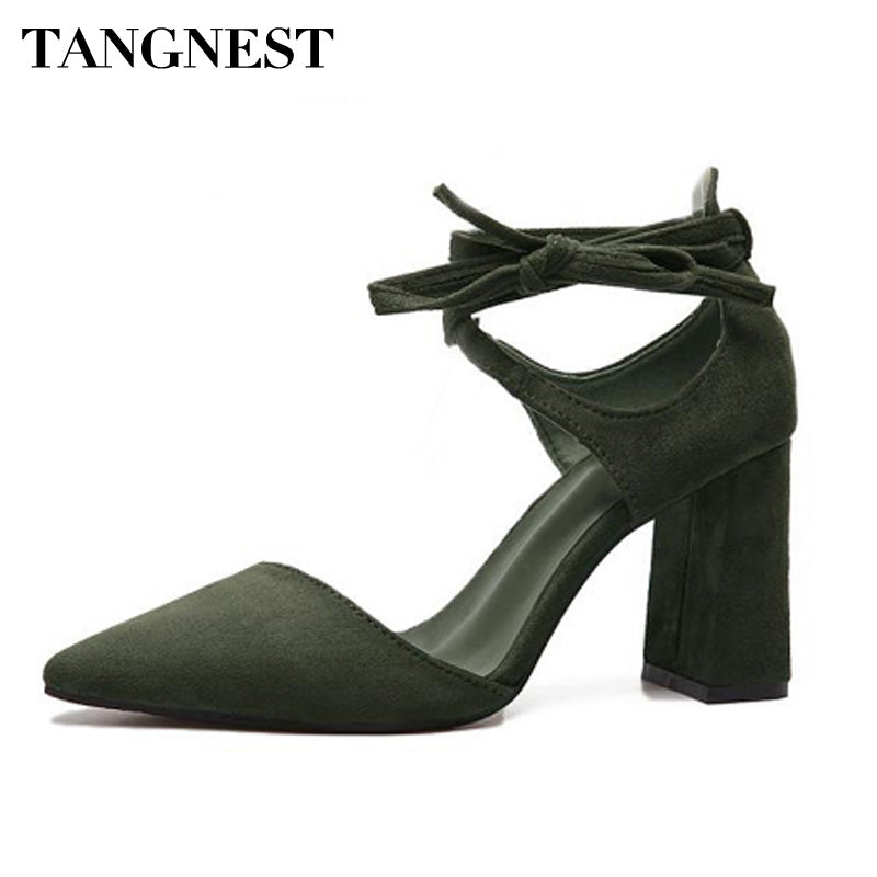 Tangnest 2018 Women Summer Rome Solid Flock Sandals Lady  Pointed Toe Square High Thick Heels Ankle Strap Woman Pumps XWZ3579