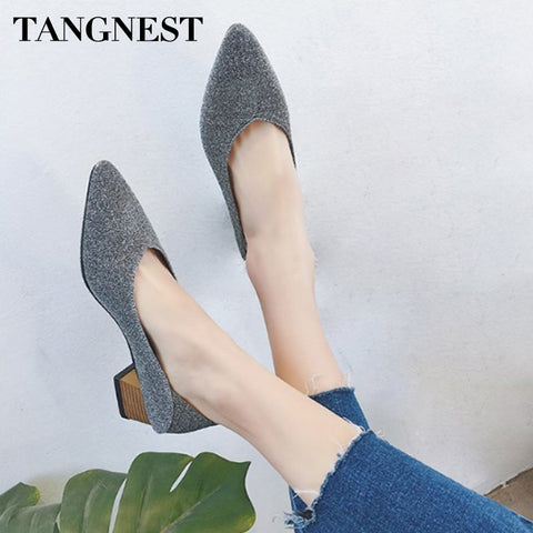 Tangnest Elegant Women Pumps PU Leather Square Heel Pointed Toe Women Casual Shoes Slip-on Fashion Shallow Female Shoes