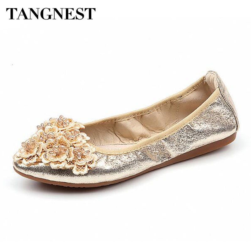 Tangnest 2018 New Woman Casual Shoes For Spring Solid Sequined Cloth Ballet Flats Slip-on Piont Toe Chic Flower Flats