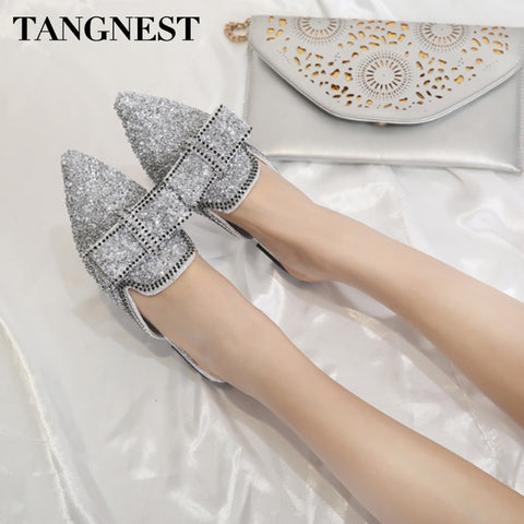 Tangnest Women Sequined Cloth Mules Slip On Summer Bling Casual Slippers Pointed Toe Fashion Bowtie Women Flats
