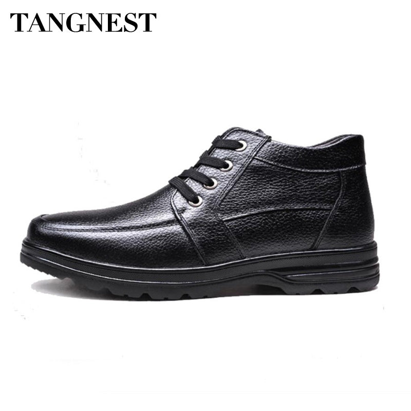 Tangnest Men Cotton Shoes Man Hand-made PU Leather Flats Shoes Round Toe Ankle Warm Cotton Boots Men Winter Footwear XMM147